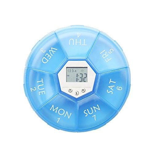 LAUCO temporizzatore Portapillole Organizzatore Medicine Vitamina Contenitore con 4gruppi allarme promemoria, display digitale e luce posteriore a LED
