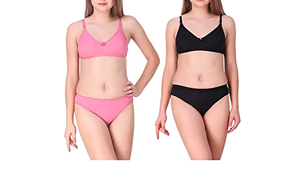 Buy Pink Black Color Lingeries Set at Amazon.in