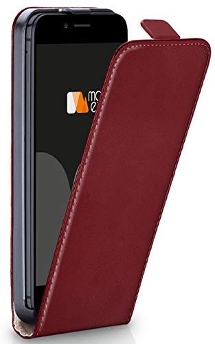 moex iPhone 6S | Hülle Dunkel-Rot 360° Klapp-Hülle Etui Thin Handytasche Dünn Handyhülle für iPhone 6/6S Case Flip Cover Schutzhülle Kunst-Leder Tasche - Leder Case Vertikal Iphone 6