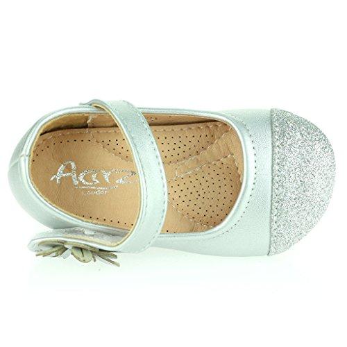 Kinder Mädchen Sparkly Zehe Blumen Detail Klettverschluss Baby Flach Pump Gepolsterte Sohle Sandale Schuhe Größe Silber qdfW4zPh