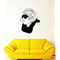 GGWW Wall Decal Style Fashion Glasses Cigarette Scarf Head Vinyl Stickers (Ed095)
