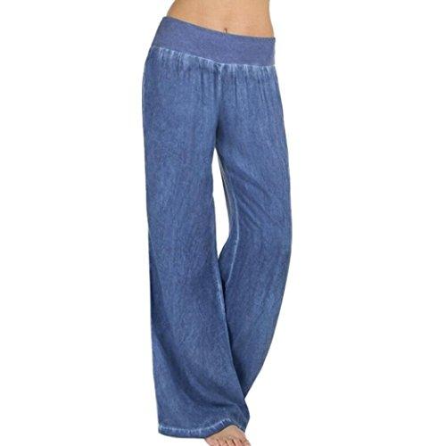 Frashing Yoga Hosen, Frauen Frauen beiläufige hohe Taillen Elastizitäts Denim weites Bein Palazzo Hosen Jeans Hose Jeans mit weitem Bein (M, Blau) (Spandex Hosen Denim)