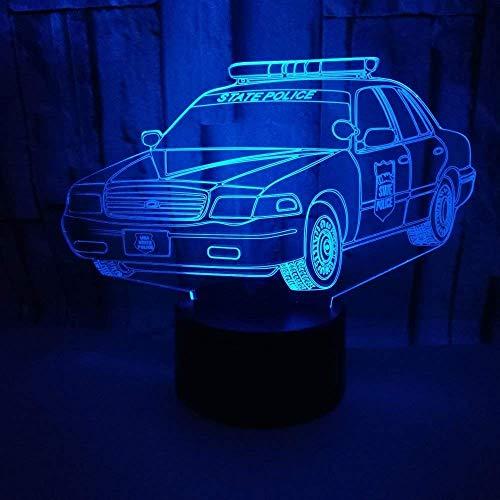 Optische Täuschung 3D Polizeiauto Nacht Licht 7 Farben Andern Sich USB Adapter Touch Schalter Dekor Lampe LED Lampe Tisch Kinder Brithday weihnachten Geschenk - Tisch Lampe Schalter