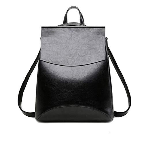 Yoome Vintage Soft Leder Rucksack Schultertasche Campus Bookbag für Frauen Schwarz -
