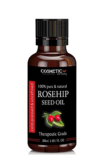 Rosehip Seed Oil 100% Pure & Natural, Therapeutic Grade Organic Cold Pressed Unrefined, Best for Face, Nails, Hair, Skin, and also for Aromatherapy & Massage From Cosmetic Company (30ml)