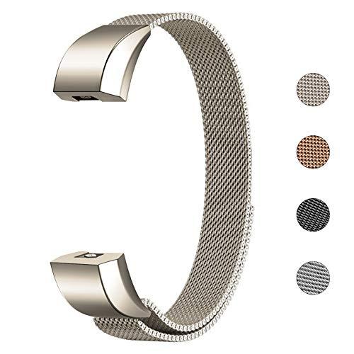 Fulwart Armband Für Fitbit Alta und Alta HR, Edelstahl Ersatz Armband mit Magnetverschluss für Fitbit Alta/Alta HR Armbänder - Champagner