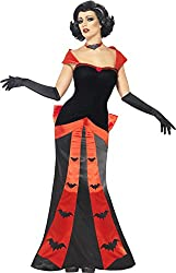 Smiffy's Women's Glam Vampires Costume with Dress Gloves and Choker, Red/Black, Large