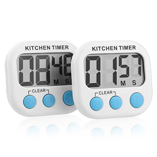 Sminiker 2 Pakete von Digitalem Küchentimer Kochentimer Uhren,countdown timer,Großer LCD-Bildschrim , Magnetische Rückseite, Anhänger & Faltständer. Batterien Inklusiv