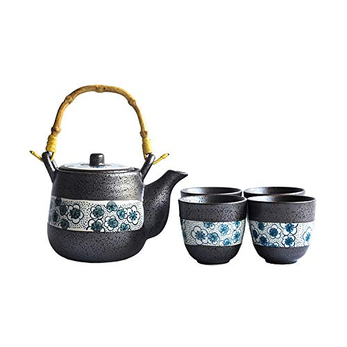 Tee-Sets Deluxe Glasur japanischen Stil Teekanne und Teetassen Set Service for 4 Erwachsene schön verpackt in Geschenkbox Excellent Home Decor Asian (Farbe : Schwarz, Größe : Einheitsgröße)