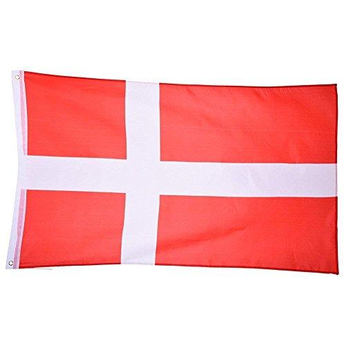 Trixes Große dänische Nationalflagge mit Ringösen zum Aufhängen 90x150cm für Fußball World Cup Europameisterschaft WM EM und andere Sportveranstaltungen