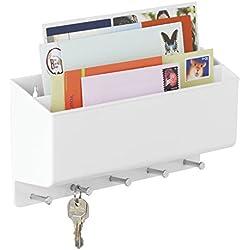 mDesign Organizzatore Posta, Lettere, Chiavi per Ingressi, Cucina - Da Parete, Diviso, Bianco