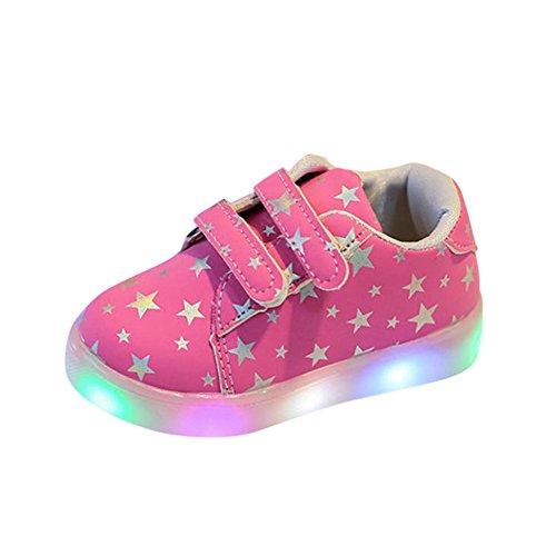 URSING Baby Mädchen Junge Skateschuhe Turnschuhe Mode LED leuchtet Kind Kleinkind Beiläufig Bunt Licht Haken & Loop PU-Leder Unisex Schuhe (30, Rosa)
