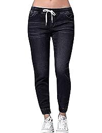 ALIKEEY Mujer Otoño Elastic Plus Loose Denim Casual Drawstring Plus Jeans Recortados
