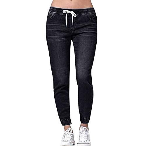 VRTUR Sommerhosen Damen Leichte Mit Gummizug Kordelzug Jeanshosen Freizeithose Einfarbig Casual Lose Hose Baggy Pants (X-Large,Schwarz)