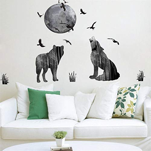 rest Ghost Wolf Crow Wall Stickers Home Decor Soggiorno Pvc Halloween Wall Sticker Fai Da Te Murale Art Poster Regalo ()