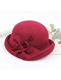 YuFLangel - Sombreros de Invierno con ala Ancha y Lazo de Fieltro de Lana  para Mujer 0481ed2b831