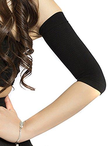 Kompression Schwarz ärmel Arm (HugeStore Damen Frauen Compression Armstulpe Kompressions Armstrumpf Arm Shapers Schwarz)