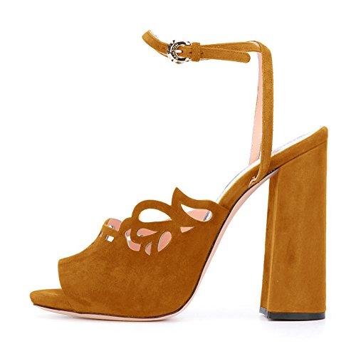 Damen Peep Toe Samt Sandalen Blockabsatz High-Heels Slingback Braun