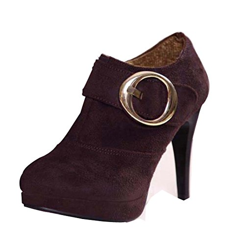Balamasa cerniera, da donna, punta tonda e tacco alto, pompe Shoes Brown