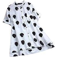Tosonse Camiseta para Mujer De Manga Corta Unisex Tops Lino Cuello Redondo Flojo Blusa Tanques Camisas Camiseta De Baño Túnica Estampado