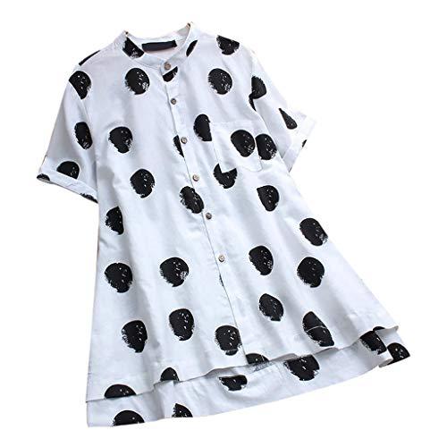 Kids Deluxe Kostüm Bane - TOPSELD T Shirt Damen, Frauen Weinlese Polka Punkt Druck O-Ansatz Knopf Short Sleeve Top Blusen T-Shirts