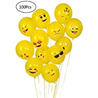 Yuechen 100Pcs Emoji Balloons,12 Inch Yellow Latex Balloons,Party Balloons including 12 Different Funny Emoji Designs , Weddings, Baby Shower Party Decorations
