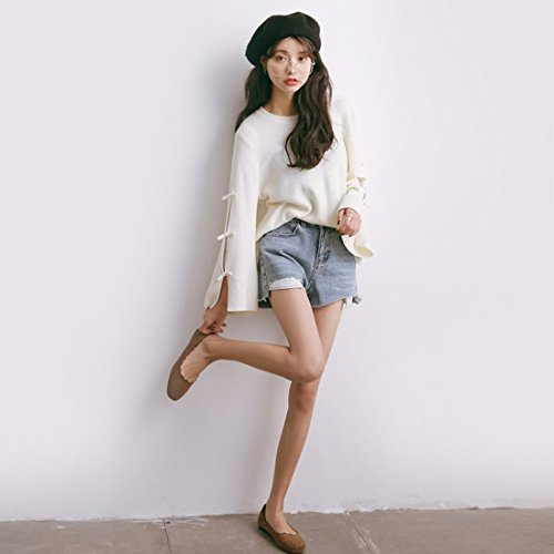 Corée Style Filles Douce Bonbons Couleur trompette manches Tricoté Baggy Pull Top Jumper Plaine Chunky Lâche Chandail Occasionnel Tops Blanc