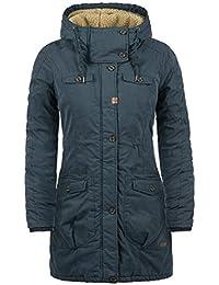 DESIRES Lewke Damen Parka lange Jacke Wintermantel mit Kapuze und Teddy-Futter aus hochwertiger Baumwollmischung