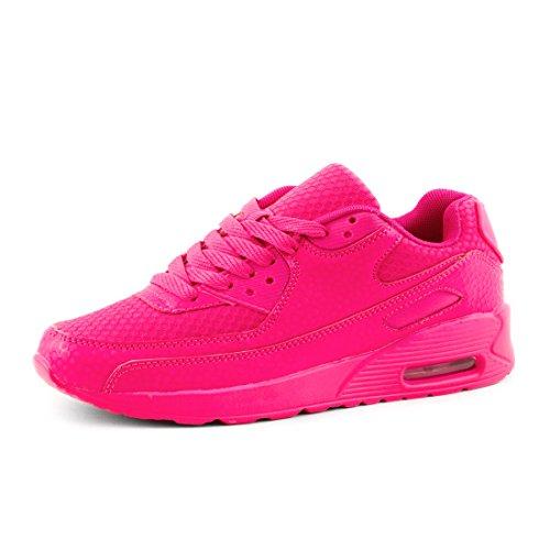 Trendige Unisex Damen Herren Laufschuhe Schnür Sneaker Sport Fitness Turnschuhe Pink 37