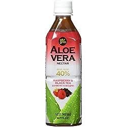 Allgroo Aloe Vera Nektar mit Schwarzem Tee und Himbeere, 12er Pack (12 x 500 ml)