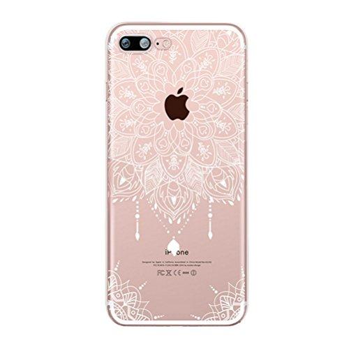 iPhone 7 Hülle mit Panzerglas, Bestsky iPhone 8 Hülle Transparent Silikon Weiß Henna Mandala Muster Cover Case Durchsichtig Handy Tasche Schutzhülle für Apple iPhone 7/8 (4.7 Zoll) #08