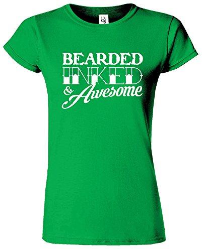 BEARDED INKED Womens T-shirt drôle Fête des pères Café Cadeau Vert Irlandais / Blanc Design