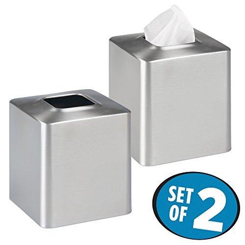 mDesign 2er-Set Kosmetiktücherbox - praktische Taschentuchbox aus gebürstetem Edelstahl - moderner Taschentuchspender als hübsche Verkleidung von einfachen Tissue Boxen in Küche, Bad, etc. - Silber