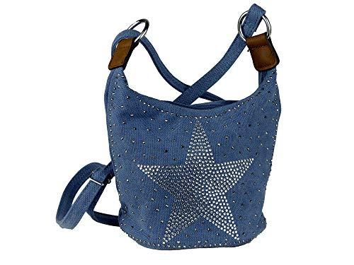 yourlifeyourstyle Kleine glitzernde Umhängetasche Damen Mädchen Teenager Tasche - runder Boden - viele Farben (blau)