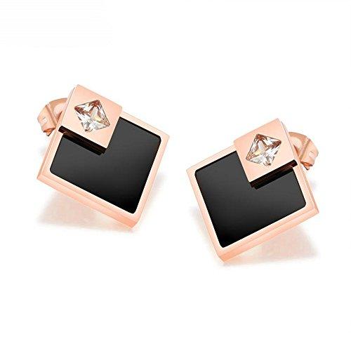 Ohrringe Weißgold Ohrstecker Quadrat (Onefeart Edelstahl Piercing Ohrringe Für Damen Überlappend Quadrat Rose Frame,Weiß Glänzend Zirkonia)
