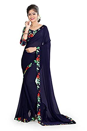 OOMPH! Chiffon Saree with Blouse Piece (rbaf_1388_Denim Blue_Free Size)