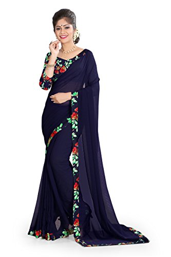 OOMPH! Chiffon Saree With Blouse Piece (rbaf_1388_Denim Blue_Free Size)