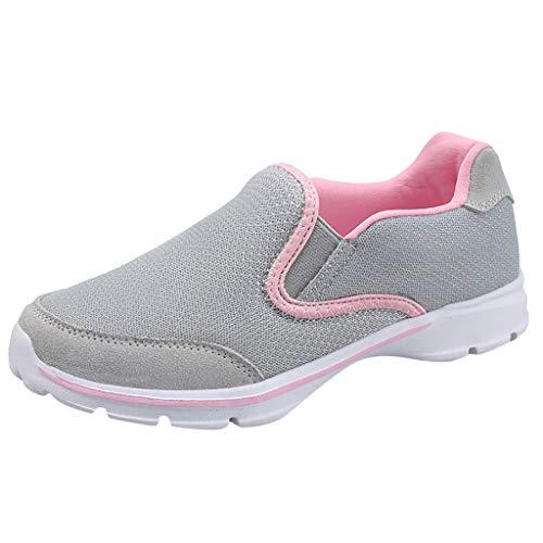 SCEMARK Damen Freizeit Sportschuhe, Mode Atmungsaktiv rutschfest Kissen Sportschuhe Weicher Boden Licht Laufschuhe