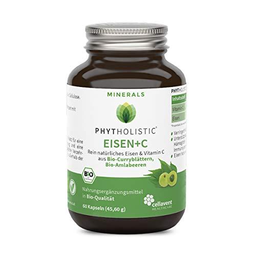 BIO Eisen + Vitamin C Phytholistic (2-Monatspackung): Natürliches Eisen - hohe Bekömmlichkeit - vollständiger Eisenkomplex - vegan - ohne künstliche Zusätze - 60 Eisenkapseln von Cellavent Healthcare -