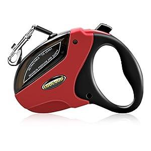 Laisse de Chien Rétractable, Laisse pour Chien Enrouleur de 5M Durable et Confortable Laisse de Dressage pour Toutes Les Tailles de Chien Jusqu'à 50kg Laisse Réglable (Noir et rouge)