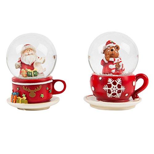 Niedliche Schneekugel Santa Claus oder Bär in der Teetasse - Lieferung je nach Lagerbestand - Preis pro Stück! (Claus Bär)