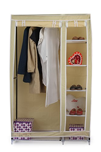 Evana 3.5 Feet Creative Cream Cabinet,Easy Installation Folding Wardrobe Cupboard Almirah Foldable Storage Rack Collapsible Cloths Organizer
