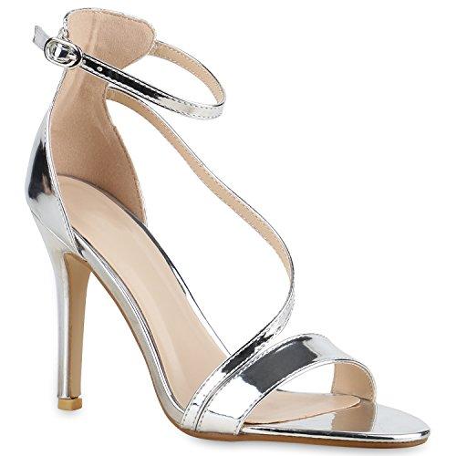 Party Damen Sandaletten | Glitzer High Heels | Plateau Sandaletten Strass Nieten | Damenschuhe Snake Lack | Stilettos Schnallen Schuhe Silber Lack