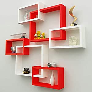 Onlineshoppee Intersecting Wooden Wall Shelves Set of 6 - Red & White