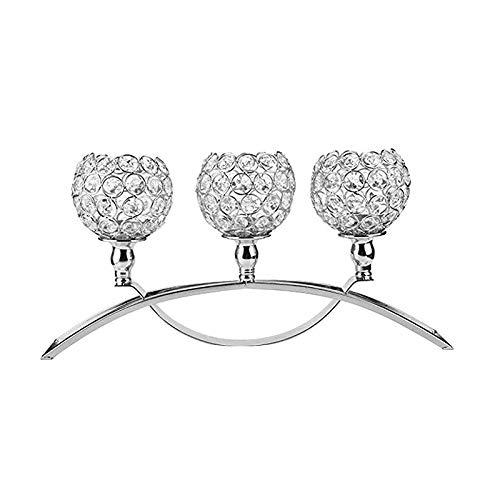 JIESD-Z Romantischer Kristall-Kerzenhalter für Zuhause, Hochzeit, Zuhause, Abendessen, Party, Restaurant, Hotel, Dekoration - Arch - Silber Arch Votiv