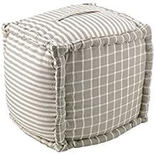 Moycor 760011.0 Vichy - Puff cuadrado cuadros y rayas gris, 40 x 40 x 40 cm