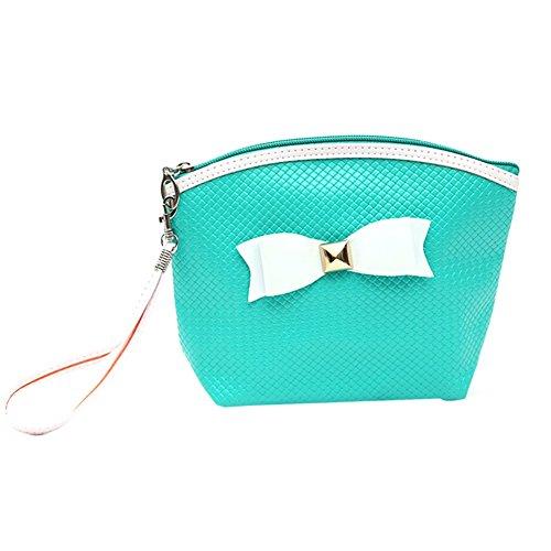 Tenflyer 2016 sac cosmétique Bonbons Colorés Make Up Bag Papillon Maquillage Noeud Organizer Bag Femmes Pu sac de rangement Accessoires Voyage (Vert)