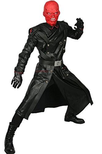 Kostüm Red Cosplay Skull - Xcoser Film Kostüm Schwarz Cosplay Outfit PU Leder Baumwolle Anzug Deluxe Schurke Kleidung für Männer Verrücktes Kleid Ware