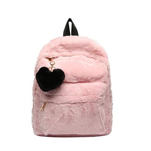 Onemoret lusso invernale in pelliccia sintetica ciondolo cuore innamorato, zaino, borsa a tracolla stile preppy scuola borse zaino, rosa