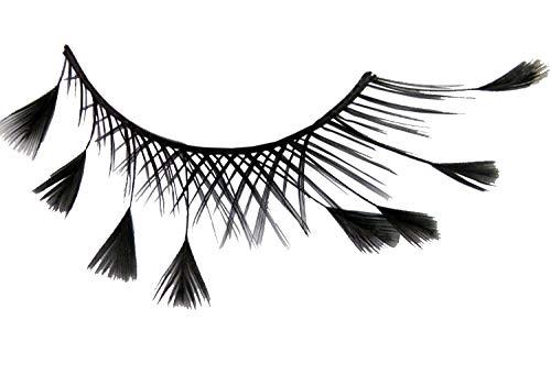 Eulenspiegel 000472 - künstliche Wimpern - Schwarz mit Federn